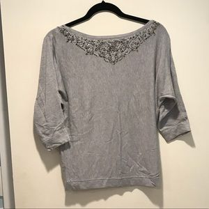 Gray butterfly sleeve top